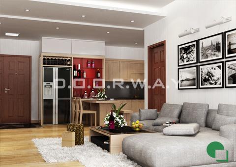 Thiết kế nội thất chung cư 65m2 Dream Town thiết kế nội thất phòng khách nhà anh Đoàn 2016 by doorway góc 01