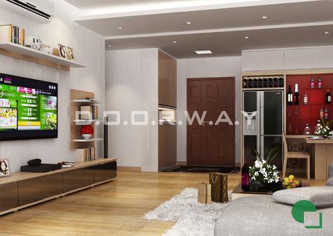 Thiết kế nội thất chung cư 65m2 Dream Town thiết kế nội thất phòng khách nhà anh Đoàn 2016 by doorway góc 02
