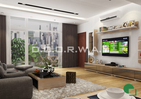 Thiết kế nội thất chung cư 65m2 Dream Town thiết kế nội thất phòng khách nhà anh Đoàn 2016 by doorway góc 03