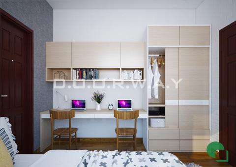 Thiết kế nội thất chung cư 65m2 Dream Town thiết kế nội thất phòng ngủ nhà anh Đoàn 2016 by doorway góc 02