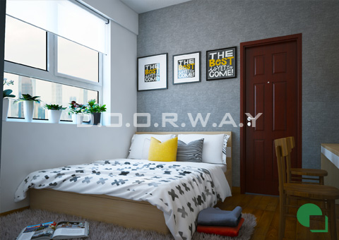 Thiết kế nội thất chung cư 65m2 Dream Town thiết kế nội thất phòng ngủ nhà anh Đoàn 2016 by doorway góc 01
