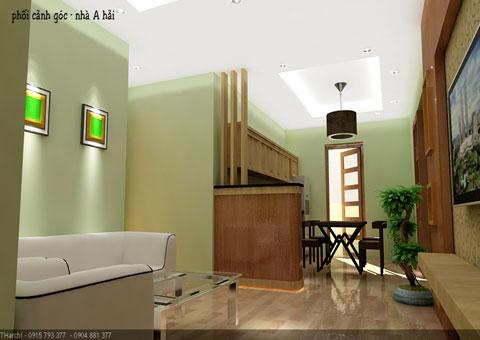 Bố trí nội thất chung cư 2 phòng ngủ 100m2 chung cư Bắc Hà nhà anh Hải by kiến trúc Doorway ảnh thiết kế nội thất 3D góc 01