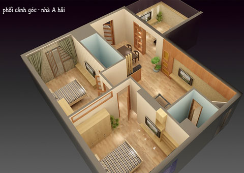 Bố trí nội thất chung cư 2 phòng ngủ 100m2 chung cư Bắc Hà nhà anh Hải by kiến trúc Doorway phối cảnh 2