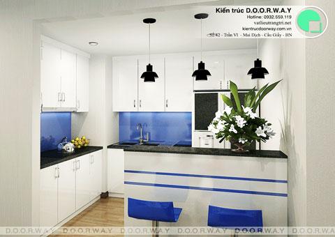 Nội thất chung cư Times City 75m2 nhà anh Nam by kiến trúc Doorway, phòng bếp thiết kế góc 01