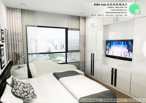 Nội thất chung cư Times City 75m2 nhà anh Nam by kiến trúc Doorway, phòng ngủ master thiết kế góc 02