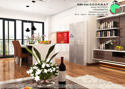Nội thất chung cư 102 Trường Chinh 120m2 nhà anh Nam chị Bình by Kiến trúc Doorway phòng khách góc 01