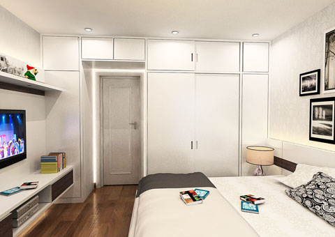 Nội thất chung cư 102 Trường Chinh 120m2 nhà anh Nam chị Bình by Kiến trúc Doorway phòng master góc 02