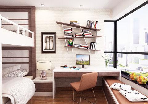 Nội thất chung cư 102 Trường Chinh 120m2 nhà anh Nam chị Bình by Kiến trúc Doorway phòng ngủ nhỏ góc 01