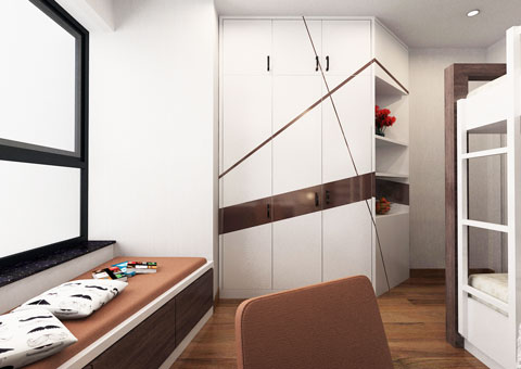 Nội thất chung cư 102 Trường Chinh 120m2 nhà anh Nam chị Bình by Kiến trúc Doorway phòng ngủ nhỏ góc 02