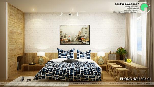 Thi công nội thất phòng ngủ 25m2 tại biệt thự FLC nhà anh Dương chị Liên by kiến trúc Doorway, ảnh thiết kế phòng ngủ 303 góc 01