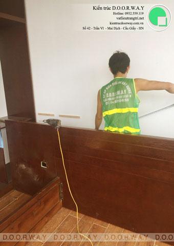 Thi công nội thất phòng ngủ 25m2 tại biệt thự FLC nhà anh Dương chị Liên by kiến trúc Doorway, ảnh thi công giường ngủ góc 01