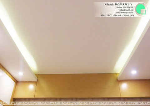 Thi công nội thất phòng ngủ chung cư Mễ Trì Hạ nhà anh Kiên by kiến trúc Doorway vách trần góc 02