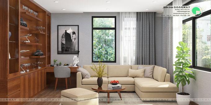 Thiết kế nội thất biệt thự 3 tầng 180m2 tại KĐT Việt Hưng nhà anh Tuấn by kiến trúc Doorway, phòng sinh hoạt chung góc 02