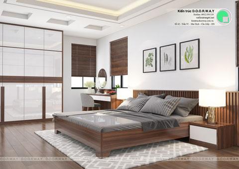 Thiết kế nội thất biệt thự 3 tầng 180m2 tại KĐT Việt Hưng nhà anh Tuấn by kiến trúc Doorway, phòng ngủ master góc 01