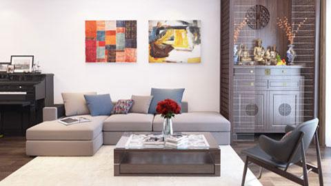 Thiết kế nội thất chung cư 3 phòng ngủ nội thất 3 phòng ngủ chung cư 120m2 anh Đông by kiến trúc Doorway phòng khách ảnh tiêu biểu