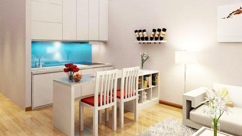 Thiết kế nội thất chung cư cao cấp 56m2 Times City nhà chị Giang by kiến trúc Doorway, nội thất phòng khách, phòng bếp ảnh tiêu biểu