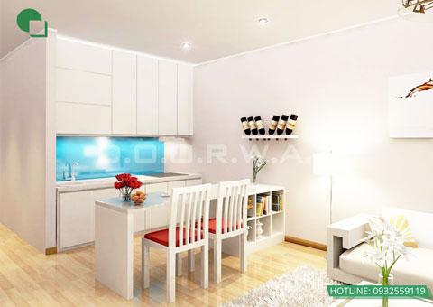 Thiết kế nội thất chung cư cao cấp 56m2 Times City nhà chị Giang by kiến trúc Doorway, nội thất phòng khách, phòng bếp góc 01 pa2