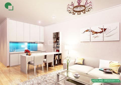 Thiết kế nội thất chung cư cao cấp 56m2 Times City nhà chị Giang by kiến trúc Doorway, nội thất phòng khách, phòng bếp góc 01