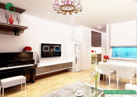 Thiết kế nội thất chung cư cao cấp 56m2 Times City nhà chị Giang by kiến trúc Doorway, nội thất phòng khách, phòng bếp góc 02