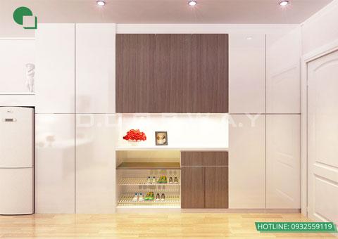 Thiết kế nội thất chung cư cao cấp 56m2 Times City nhà chị Giang by kiến trúc Doorway, nội thất phòng khách, phòng bếp góc 04