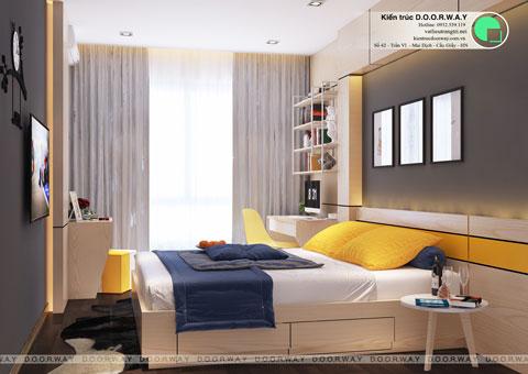 Thiết kế nội thất nhà ống 4 tầng 180m2 nhà anh Nam ở Điện Biên Phủ, by kiến trúc Doorway, phòng ngủ master góc 02
