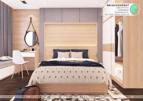 Thiết kế nội thất nhà ống 4 tầng 180m2 nhà anh Nam ở Điện Biên Phủ, by kiến trúc Doorway, phòng ngủ em gái góc 01