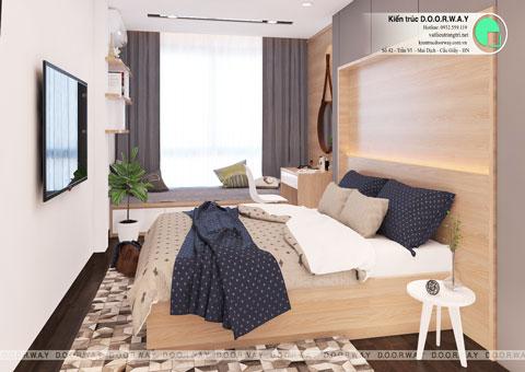 Thiết kế nội thất nhà ống 4 tầng 180m2 nhà anh Nam ở Điện Biên Phủ, by kiến trúc Doorway, phòng ngủ em gái góc 03