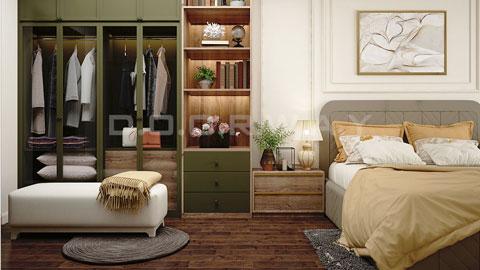 Thiết kế phòng cưới chung cư Discovery Complex 20m2 nhà anh Linh by kiến trúc Doorway nội thất phòng ngủ ảnh tiêu biểu