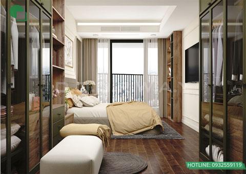 Thiết kế phòng cưới 20m2 chung cư Discovery Complex nhà anh Linh by kiến trúc Doorway nội thất phòng ngủ góc 03