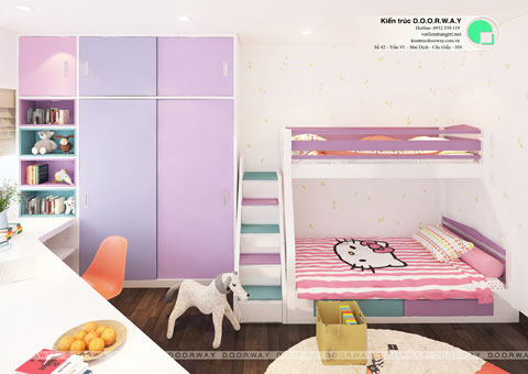 Thiết kế phòng ngủ đôi cho 2 bé 15m2 nhà anh Đông by kiến trúc Doorway góc 01