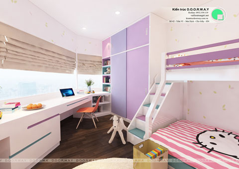Thiết kế phòng ngủ đôi cho 2 bé 15m2 nhà anh Đông by kiến trúc Doorway góc 02