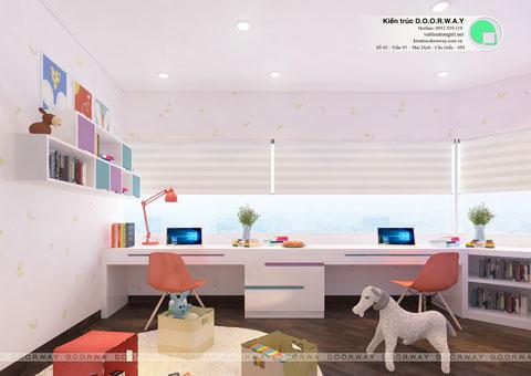 Thiết kế phòng ngủ đôi cho 2 bé 15m2 nhà anh Đông by kiến trúc Doorway góc 04