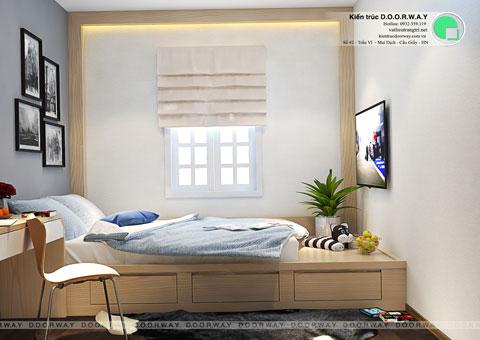 Thiết kế phòng ngủ nhỏ 12m2 nhà anh Nam Điện Biên Phủ by kiến trúc Doorway, góc 02
