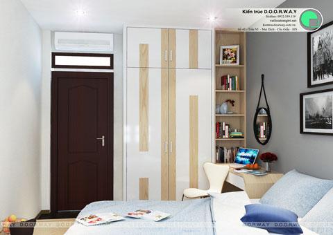 Thiết kế phòng ngủ nhỏ 12m2 nhà anh Nam Điện Biên Phủ by kiến trúc Doorway, góc 03