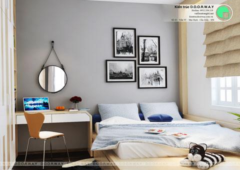 Thiết kế phòng ngủ nhỏ 12m2 nhà anh Nam Điện Biên Phủ by kiến trúc Doorway, góc 04