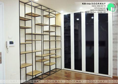 Thi công nội thất chung cư CT4 Vimeco nhà anh Thế Anh 95m2 by kiến trúc Doorway phòng khách góc 03