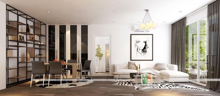 Thi công nội thất chung cư CT4 Vimeco nhà anh Thế Anh 95m2 by kiến trúc Doorway phòng khách góc 01