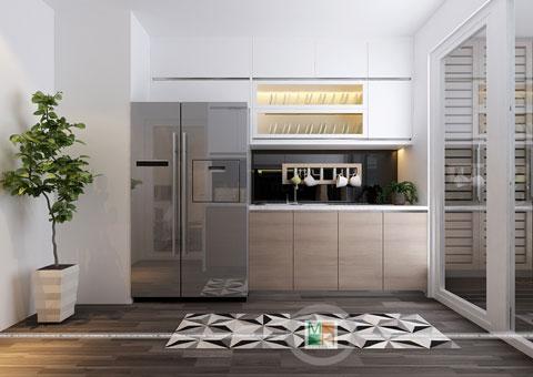 Thi công nội thất chung cư CT4 Vimeco nhà anh Thế Anh 95m2 by kiến trúc Doorway phòng khách góc 05