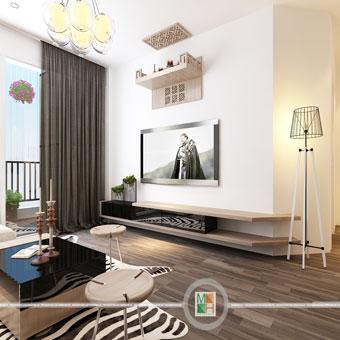 Thi công nội thất chung cư CT4 Vimeco nhà anh Thế Anh 95m2 by kiến trúc Doorway phòng khách góc 11