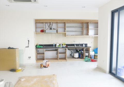 Thiết kế & thi công nội thất chung cư 95m2, chung cư Meco Complex 102 Trường Chinh nhà anh Thắng by kiến trúc Doorway phòng khách, phòng bếp góc 02