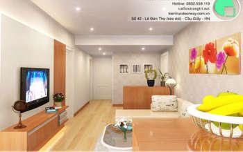Thiết kế & thi công nội thất chung cư 95m2, chung cư Meco Complex 102 Trường Chinh nhà anh Thắng by kiến trúc Doorway phòng khách, phòng bếp góc 12