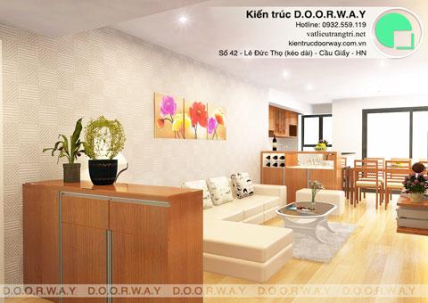 Thiết kế & thi công nội thất chung cư 95m2, chung cư Meco Complex 102 Trường Chinh nhà anh Thắng by kiến trúc Doorway phòng khách, phòng bếp góc 13