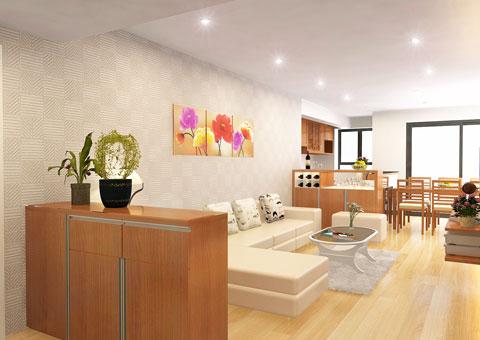 Thiết kế & thi công nội thất chung cư 95m2, chung cư Meco Complex 102 Trường Chinh nhà anh Thắng by kiến trúc Doorway phòng khách, phòng bếp góc 16