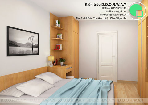 Thiết kế & thi công nội thất chung cư 95m2, chung cư Meco Complex 102 Trường Chinh nhà anh Thắng by kiến trúc Doorway phòng ngủ góc 01