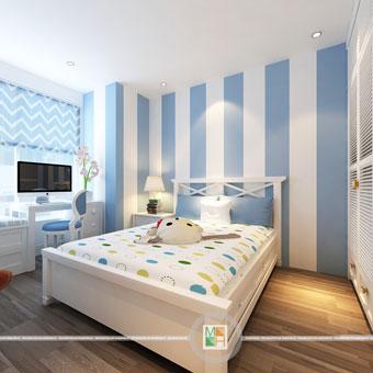 Thi công nội thất chung cư CT4 Vimeco nhà anh Thế Anh 95m2 by kiến trúc Doorway phòng ngủ con góc 05