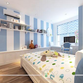 Thi công nội thất chung cư CT4 Vimeco nhà anh Thế Anh 95m2 by kiến trúc Doorway phòng ngủ con góc 07