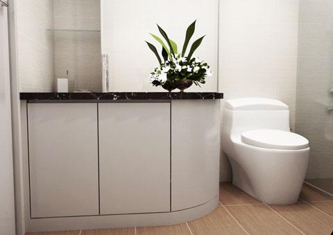 Thiết kế 2 nhà vệ sinh cạnh nhau, thiết kế nhà vệ sinh tại chung cư Intracom nhà chị Hải by kiến trúc Doorway, góc 06 wc phòng khách