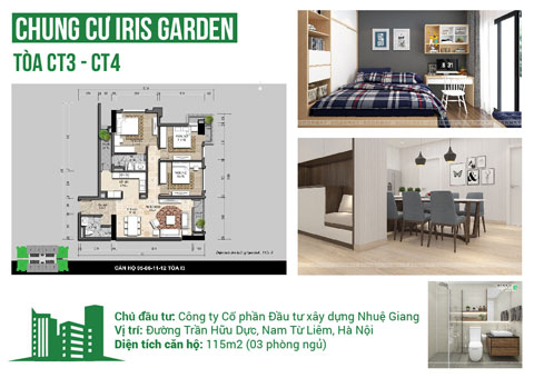 Thiết kế nội thất căn hộ 3 phòng ngủ CT3, CT4 115m2 chung cư Iris Garden, by kiến trúc Doorway st, ảnh tiêu biểu