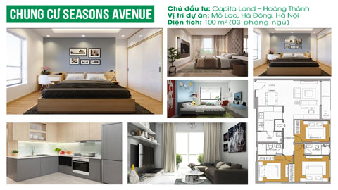 Thiết kế nội thất căn hộ 3 phòng ngủ B109 tòa S1 chung cư Seasons Avenue by kiến trúc Doorway, ảnh tiêu biểu