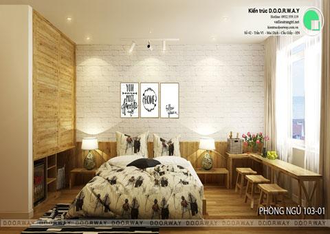 Thiết kế nội thất biệt thự cho thuê 600m2 tại FLC Sầm Sơn nhà anh Dương chị Liên, by kiến trúc Doorway, thiết kế phòng ngủ 103 góc 01